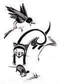 Gato y raven — Foto de Stock