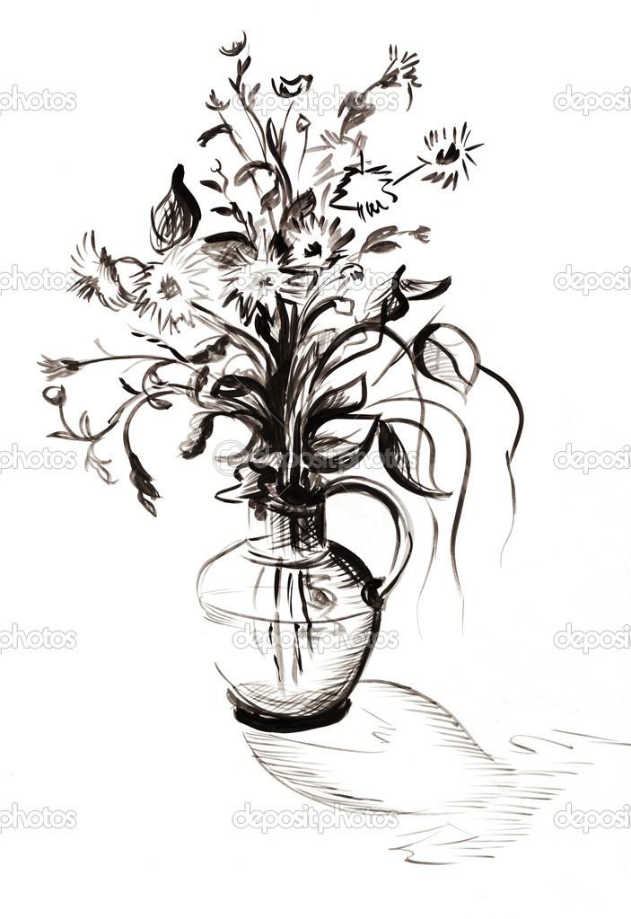 黑白色手绘简约景物