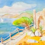 Постер, плакат: Sea landscape with a temple of Jupiter ashore