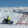 Airfield service worker on a snowmobile at the South Pole, Antarctica — Stock Photo