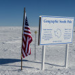 Stock Photo: American flag at the geographic South Pole