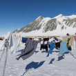 Clothing drying on a rope at the South Pole Camp, Antarctica — Stock Photo