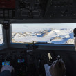 Antarctic Landscape From Airplane Cockpit — Stock Photo