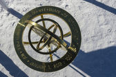 Memorial sign dedicated to the 100 years anniversary at the geographic South Pole — Stock Photo