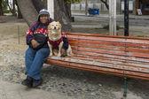 Mężczyzna z psem, punta arenas, chile — Zdjęcie stockowe