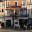 memorial for admiral pierre andre on hotel sube background, saint tropez, france — Stock Photo