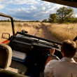 In the car, safari, Namibia — Stock Photo