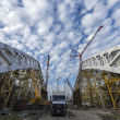 Stock Photo: Construction of sport venue in Sochi Olympic Park, Russia