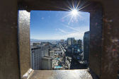 Vegas through a window of local Eifel tower — Stock Photo