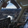 View of Hoover Dam  from the helicopter cockpit - Stock Photo
