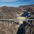 Aerial view of Hoover Dam and the Colorado River Bridge — Stock Photo