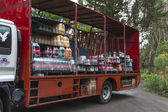 Cargo truck with loads of soda drinks, Galapagos islands — Stock Photo