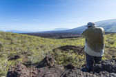 Tired tourist on Galapagos islands — Stock Photo