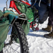 Bicycle - common transportation mean on winter Baikal lake — Stockfoto
