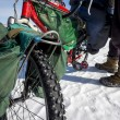 Bicycle - common transportation mean on winter Baikal lake - Stock Photo