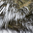 Bizarre icicles on the rocks of Baikal lake, Russian — Foto Stock