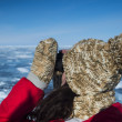 Watching binocular on Baikal lake in winter — Stock Photo #25333009