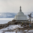 Sacred buddhist stupa on Oghoi island, Baikal lake — Stock Photo #25333129