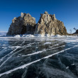 Ice fields of Baikal lake — Stock Photo