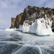 Stock Photo: Rocks and ice of baikal lake, Russia
