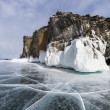 Rocks and ice of baikal lake, Russia — Stock Photo