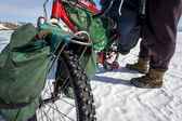 Bicycle - common transportation mean on winter Baikal lake — Stock Photo