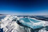 Blue block of ice on Baikal lake,Russia — Stock Photo