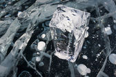 White block of ice on Baikal lake,Russia — Stock Photo