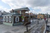 Staré dřevěné domy irkutsk, rusko — Stock fotografie