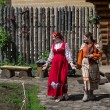 Two girls in traditional russian clothes — ストック写真
