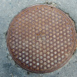 Manhole on a street of Jaroslavl, Russia — Stock Photo