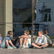 Teenage boys resting near the Drama theatre in Vladimir city, Russia — Foto de Stock