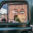 Window of an old soviet mini van — Stock Photo