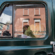 Stock Photo: Window of old soviet mini van