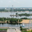 View of Nizhny Novgorod city from the cableway across Volga river, Russia — Stock Photo