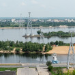 View of Nizhny Novgorod city from the cableway across Volga river, Russia — Stock Photo #26945781