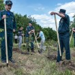 Firefighters are helping to plant a new park — Stock Photo