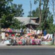 Stock Photo: Rodside market with funny stuff in Moscow region