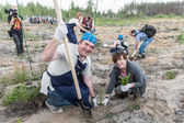 Volunteers planting trees for a new forest, Russia — Stock Photo