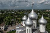 Cúpulas de la catedral de santa sofía en vologda, rusia — Foto de Stock