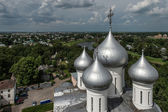 Domes of St. Sophia cathedral in Vologda, Russia — Stok fotoğraf