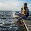 Resting on pier at a lake in Russia — Stock fotografie