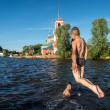 Children having fun on a lake in Russia — Stock Photo
