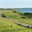 panoramic view of a road near pleshcheevo lake in russia — Stock Photo