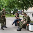 Stock Photo: Chatting with russisoldiers