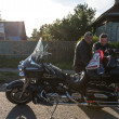 Stock Photo: Bikers in russivillage