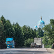 Russian rural landscape with orthodox church — Stock Photo
