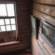 Interior of russian log house — Stock Photo