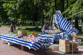 Trade stall with various stuff in park, Russia — Zdjęcie stockowe