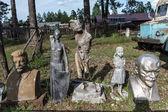 Old soviet sculptures in Narrow gauge railway museum, Pereslavl, Russia — Stock Photo